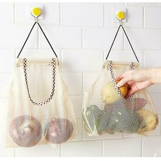 New Mesh Net Breathable Fruit Vegetable Garlic Onion Hanging Storage Bag fruit Vegetable Garlic Onion Potato Kitchen Hanging Bag. Category: Home & Garden. Subcategory: Home Storage & Organization. Produce Storage, Fruit Storage, Produce Bags, Bag Storage, Food Storage, Kitchen Vegetable Storage, Kitchen Storage, Space Kitchen, Kitchen Tips