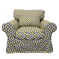 IKEA Ektorp Chair Slipcover In Lemon Magna From Knesting Cover