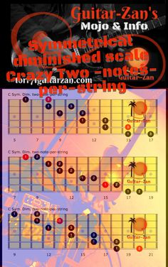 The Diminished scale-The Law of Diminishing Returns - Guitar-Zan Electric Guitar Lessons, Acoustic Guitar Case, Guitar Chords, Guitar Scales, Guitar Pedals, Blues Scale, Guitar Tips, Guitar Songs, Types Of Music