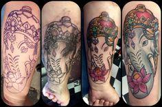 My Ganesha tattoo process! Tattoo Process, Ganesha Tattoo, Tatoos, Skull, Ink, Tatto, Tattos, Ink Art