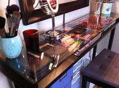 DIY Makeup Vanity: put Ikea shelf on legs!.