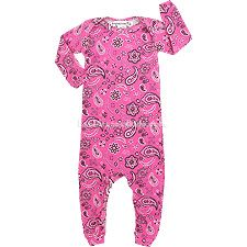 Your girl will look darling in this sweet and playful bandana print Thingamajiggies 4 Kids coverall pajama. 100% cotton. Made in U.S.A. .  .     bubble gum coverall pajamas .     bandana print .     lap shoulders .     long sleeves .     ribbed cuffs .     leg snaps .  . For child's safety, garment should fit snugly. This garment is not flame resistant. Loose-fitting garment is more likely to catch fire.