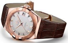 OMEGA Constellation Sedna Gold.  Sedna, you ask?  It is a new 18K gold alloy (min. 75% gold), created by OMEGA and other Swatch Group scientists which blends three elements: gold, copper and palladium; it possesses nice hues of rose and red, though from these images it is hard to distinguish its uniqueness vs. other rose or pink golds.