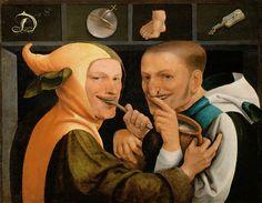 Artiste anonyme (attribué à Jan Metsys), Le monde nourrit beaucoup de fous, vers 1560. Galerie De Jonckheere. L'Eloge de la Folie d'Erasme illustré par les peintres de la Renaissance du Nord, Editions Diane de Selliers.