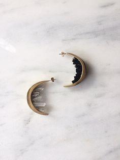 Entropy Quantum Crescent Earrings