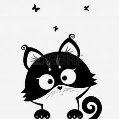Black and white illustration silhouette cute cats royalty free Silhouette Chat, Silhouette Portrait, Butterfly Black And White, Clipart Black And White, Illustration Art Nouveau, Cat Clipart, Black And White Illustration, Cat Drawing, Cat Art