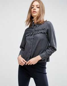 bcff5fe0e50c ASOS Denim Shirt with Ruffle Detail in Washed Black Pepe Jeans