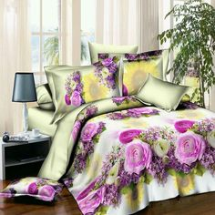 New Style White Red Flower Bedding Set of Duvet Cover Bed Sheet Pillowcase Bed Clothes Comforters Cover Queen No Quilt Comforter Cover, King Comforter Sets, Duvet Covers, Bed Sets, Cama Queen Size, Beautiful Bedding Sets, King Size Bed Sheets, Purple Bedding, 3d Rose