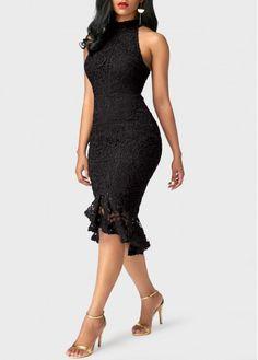 Black Sleeveless Frill Hem Lace Dress on sale only US$42.15 now, buy cheap Black Sleeveless Frill Hem Lace Dress at liligal.com