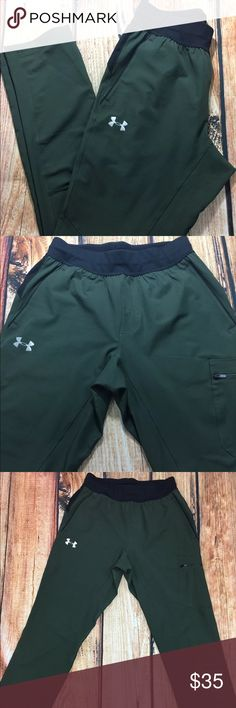 Under Armour Heat Gear Outdoor Workout Pants M Under Armour heat gear women's outdoor pants in size M. These pants were designed for hiking, fishing, camping, or any other outdoor activity.  Brand: Under Armour Style: Heatgear outdoor leggings Condition: Pre-owned Size: M Color: Green Measurements laying flat:  Waist: 28 inches Inseam: 32 inches Length: 42 inches Under Armour Pants Leggings