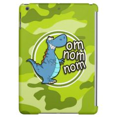 Funny Dinosaur; bright green camo, camouflage iPad Air Covers