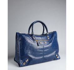 Love the blue! Balenciaga blue lambskin large 'Weekender' tote