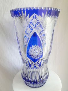 Cobalt Blue cut to clear crystal vase, Imperlux.