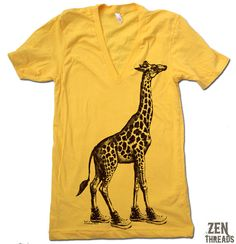 Hey, I found this really awesome Etsy listing at https://www.etsy.com/listing/75377489/unisex-giraffe-in-high-tops-deep-v-neck