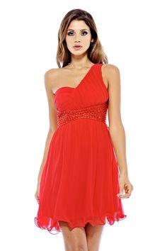 AX Paris Women's One Shoulder Embellished Waist Red Dress, Size: 6;8