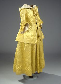 """Day-After"" Morning Suit in Two Pieces: ca. 1778, Danish, embroidered and quilted silk. Probably belonged to Marie Dorothea Cortsen who married the pastor Nicolai Clausen in Aalborg in 1778."