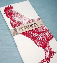 Red Rooster Hand-printed Flour Sack Kitchen Towels