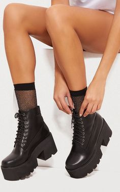 Black Chunky Hiker BootThese chunky boots are sure to give your outfit a serious update Featuring a black faux leather material a lace up front and a chunky sole team them with your festival outfit for a killer edge Faux leatherLace Platform Socks And Heels, High Heel Boots, Heeled Boots, Shoe Boots, High Heels, Shoes Heels, Thigh High Platform Boots, Boot Heels, Women's Boots