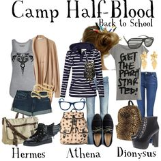 Fictional Fashion: Camp Half-Blood - Percy Jackson series - Like the Athena outfit (centre) Percy Jackson Outfits, Percy Jackson Fandom, Themed Outfits, Inspired Outfits, Fandom Outfits, Fandom Fashion, Casual Cosplay, Character Outfits, Annabeth Chase