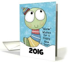 Customizable Year Happy New Year 2016- Worm Wishes- Worm in Sweater card
