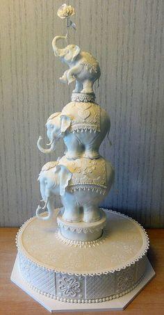 Elephant cake, indian wedding cake, all white cake