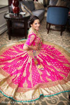 pink Indian bride wearing bridal lehenga and jewelry. Indian Bridal Wear, Asian Bridal, Bride Indian, Indian Wear, Indian Dresses, Indian Outfits, Sikh Wedding, Wedding Lenghas, Wedding Sari