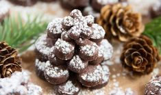 These chocolate shortbread cookies are cut and stacked to resemble pinecones with a light dusting of powdered sugar snow. They make for a fun holiday cookie. For the past two years, I've made my Matcha Holiday Baking, Christmas Baking, Xmas Food, Vegetarian Chocolate, Chocolate Recipes, Best Holiday Cookies, Christmas Cookies, Christmas Tree, Christmas Decor
