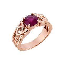 Kleine Schätze - Damen Ring / Verlobungsring / partnerring 10 Karat Rotgold keltisch Knote Granat Ring: Amazon.de: Schmuck