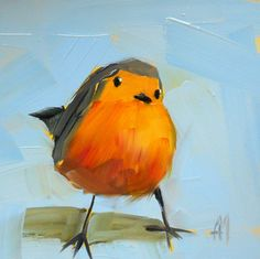 funny little robin original bird oil painting by by prattcreekart