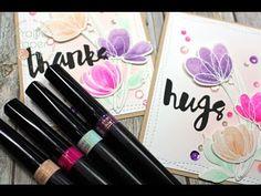 Prairie Paper & Ink: SSS Spring Floral Shapes Dies | Spectrum Noir Sparkle Pen Watercolor