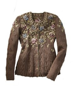 embroidered sweater (I love the shaping of t his cardigan, though not sure I'd have the patience for all the beautiful embroidery. Hand Knitting, Knitting Patterns, Silk Ribbon Embroidery, Cashmere Sweaters, Knit Cardigan, Knitwear, Knit Crochet, Girl Fashion, My Style