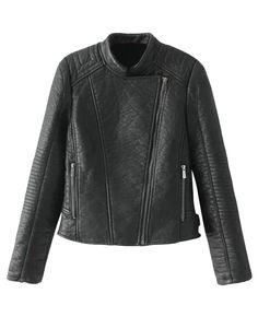 Stand-collar Zipped Cropped Biker Jacket