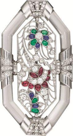 Platinum, Diamond, Crystal and Multi Gem Brooch by Janesich