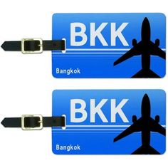 Bangkok Thailand (BKK) Airport Code Luggage Suitcase Carry-On ID Tags, Set of 2, Multicolor