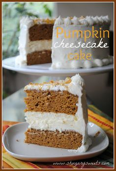 Pumpkin Cheesecake Cake- how about a new #thanksgiving tradition? Two layers of #pumpkin cake with a layer of cheesecake, and cream cheese frosting!