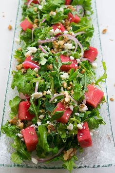 Watermelon Arugula Salad – Kitschen Cat Watermelon Arugula Salad – an explosion of sweet, salty, nutty, and peppery flavor in every bite! Gourmet Recipes, Vegetarian Recipes, Dinner Recipes, Cooking Recipes, Healthy Recipes, Beef Recipes, Juicer Recipes, Cabbage Recipes, Fast Recipes