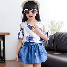 Menina+de+Conjunto+Floral+Misto+de+Algodão+Verão+Azul+/+Verde+/+Vermelho+–+MXN+$+206.49