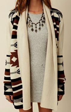 chunky knit tribal sweater. love.
