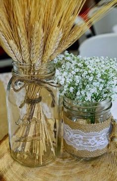 wedding table decorations 818881144731082698 - 50 Rustic Wedding Decorations with Mason Jars – Source by Wheat Centerpieces, Wheat Decorations, Wedding Table Centerpieces, Floral Centerpieces, Rustic Wedding Decorations, Wheat Wedding, Diy Wedding, Wedding Flowers, Wedding Ideas