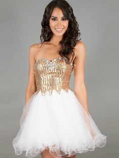 Elegant Ball gown Sequin Sweetheart Organza Crytal Homecoming Dress