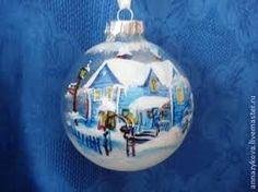 Картинки по запросу елочный шар с домиками
