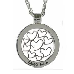 Valentines Day Coin necklace special includes all three coin jewelry components for one complete necklace. Silver plated stainless steel Carlo Biagi Coin