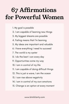 67 Positive Affirmations for Powerful Women. Use these to boost self-esteem, confidence, and motivation. Motivational Affirmations, Affirmations For Women, Positive Affirmations Quotes, Self Love Affirmations, Morning Affirmations, Affirmation Quotes, Positive Quotes, Healing Affirmations, Body Positive