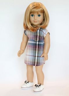 American Girl Doll plaid dress by EverydayDollwear on Etsy