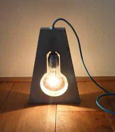 Concrete floor lamp - Globe light bulb in minimalist concrete shape - Handmade