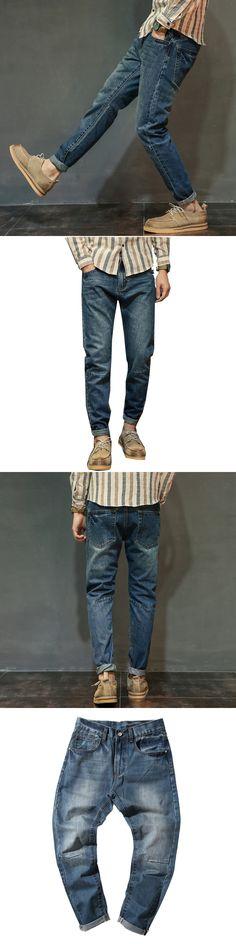 2017 Autumn Winter New Scratches Blue Stretch Men Jeans Fashion Harlan Pants Sweatpants Trousers Plus Size