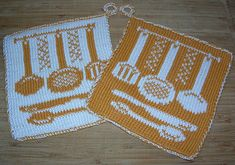 Potholder Cook Flatware pattern by Regina Schoenfeldt - Topflappen Sitricken Potholder Patterns, Crochet Potholders, Dishcloth Knitting Patterns, Knit Patterns, Double Knitting, Free Knitting, Crochet Chart, Knit Crochet, Knit Purl Stitches