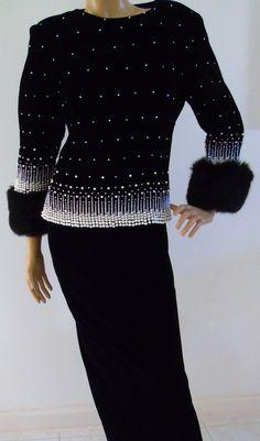 Victoria Royal - Lillie Rubin - Top de Soirée - Velours,  Fourrure Noir et Perles - Années 60