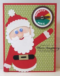 SANTA'S NICE-O-METER PUNCH ART CARD featuring Stampin' Up! punches.  Includes free tutorial for Punch Art instructions.    Stamping Inspiration from MarieStamps.com