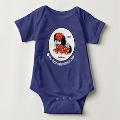 My First Valentine's Day. Vintage Puppy with hearts design Baby Gift Bodysuits, T-Shirts and Sweatshirts with personalized kid's name. Matching cards, postage stamps and other products available in the Holidays / Valentine's Day Category of the oldandclassic store at zazzle.com